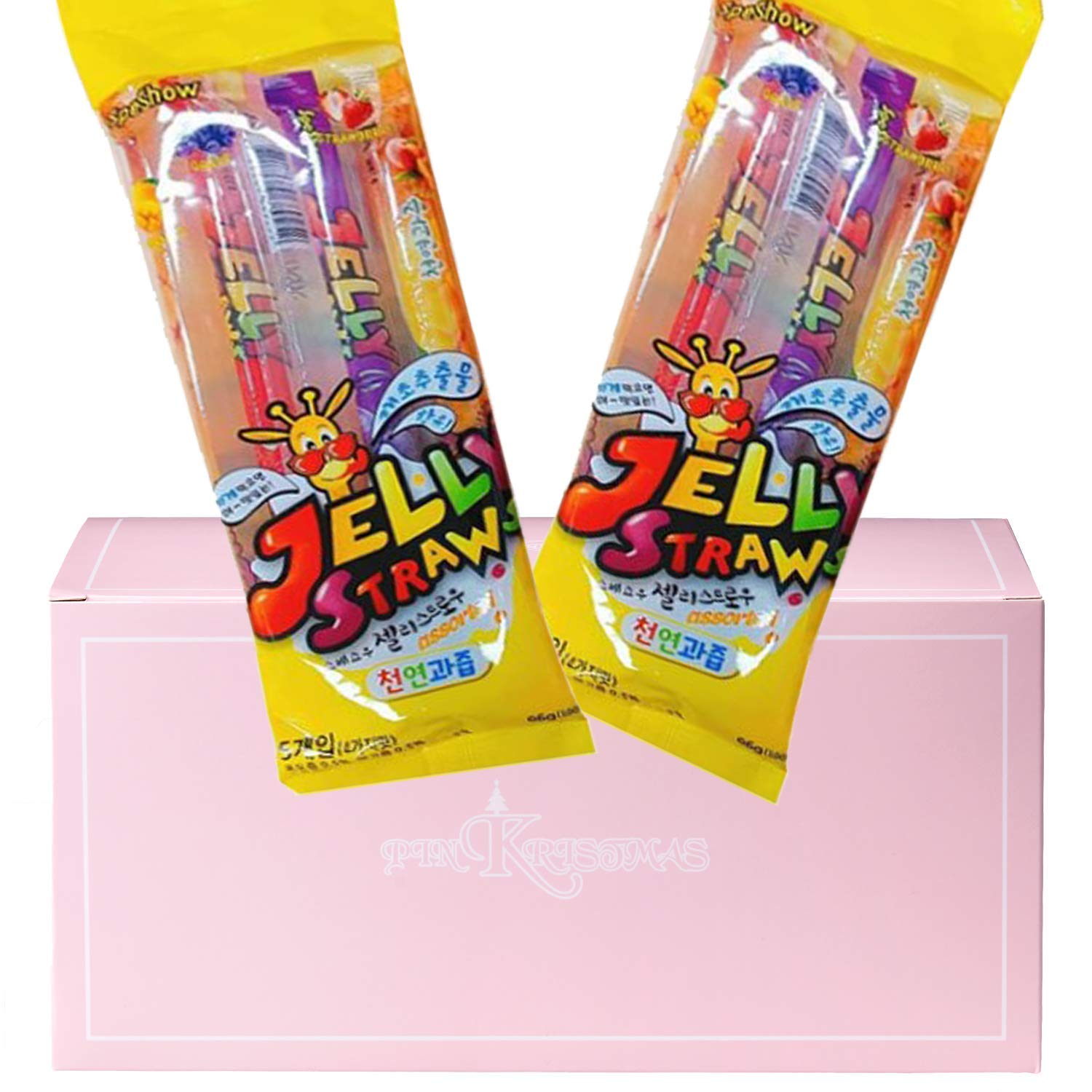 Jelly Straws Pack of 2 in a PINKRISTMAS Gift Box - Strawberry Peach Mango Grape Flavors Colorless Jelly Noodles Gummies