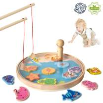 Akamino Wooden Magnetic Fun Fishing Game Toy for Kids with 14 Number Ocean Sea Animals Magnets and 2 Fishing Pole Basic Skills Development Toys for 2 3 Year Old Girl Birthday Party Festival