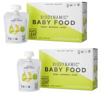White Leaf Provisions' — 90g. 12 Pouches of Biodynamic Organic Baby Food Pear + Banana + Kiwi — Unsweetened Fruit Pouches — Healthy Snacks for Babies 8 months+