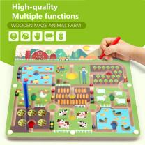 Elloapic Pen Leading Maze Puzzle Interactive Maze Beads Maze on Board Game Eduactional Handcraft Toys-Square - Great Farmer in his Farm