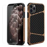 LCHULLE for iPhone 11 Wood Case Carbon Fiber with Tempered Glass Screen Protector Hybrid Protection Slim Case Soft TPU Silicone Shockproof Protective Gel Case for iPhone 11