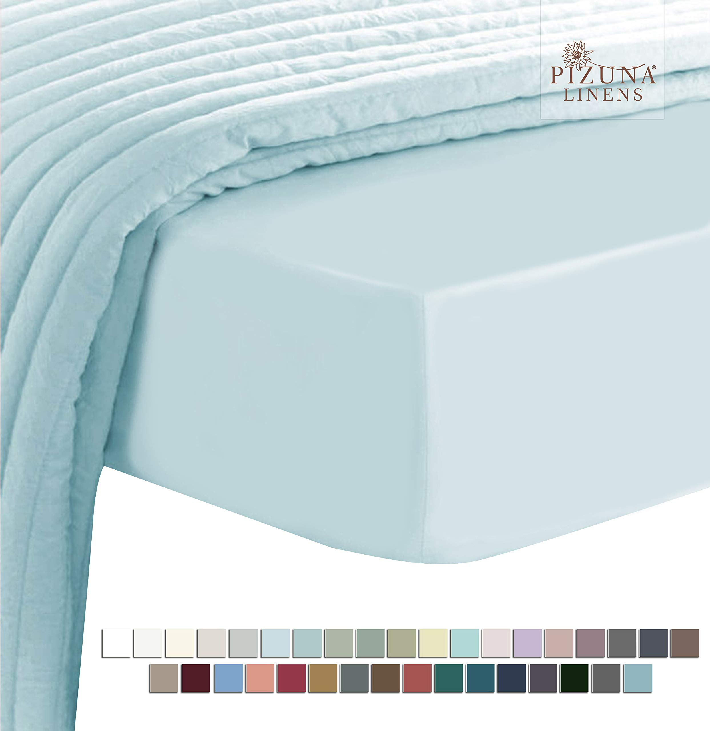 Pizuna Soft 400 Thread Count Cotton Full Fitted Sheets Light Blue 1pc, 100% Long Staple Cotton Sateen, Soft Fitted Bed Sheet fit Upto 15 inch Deep Pocket (Baby Blue 100% Cotton Full Size Fitted Sheet)