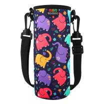 Nuovoware Water Bottle Carrier, Premium Neoprene Portable Insulated Water Bottle Holder Bag 1000ML with Adjustable Shoulder Strap Fit Stainless Steel & Plastic Bottles, Large Size, Colorful Elephant