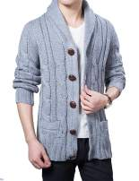 Lentta Mens Heavy Weight Shawl Collar Button Down Cable Knitted Cardigan Sweater