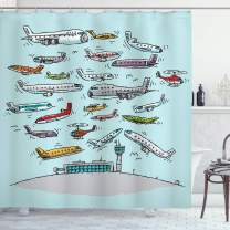 """Ambesonne Airplane Shower Curtain, Planes Fying in Air Aviation Love Airport Helicopters and Jets Cartoon Style Print, Cloth Fabric Bathroom Decor Set with Hooks, 75"""" Long, Teal"""