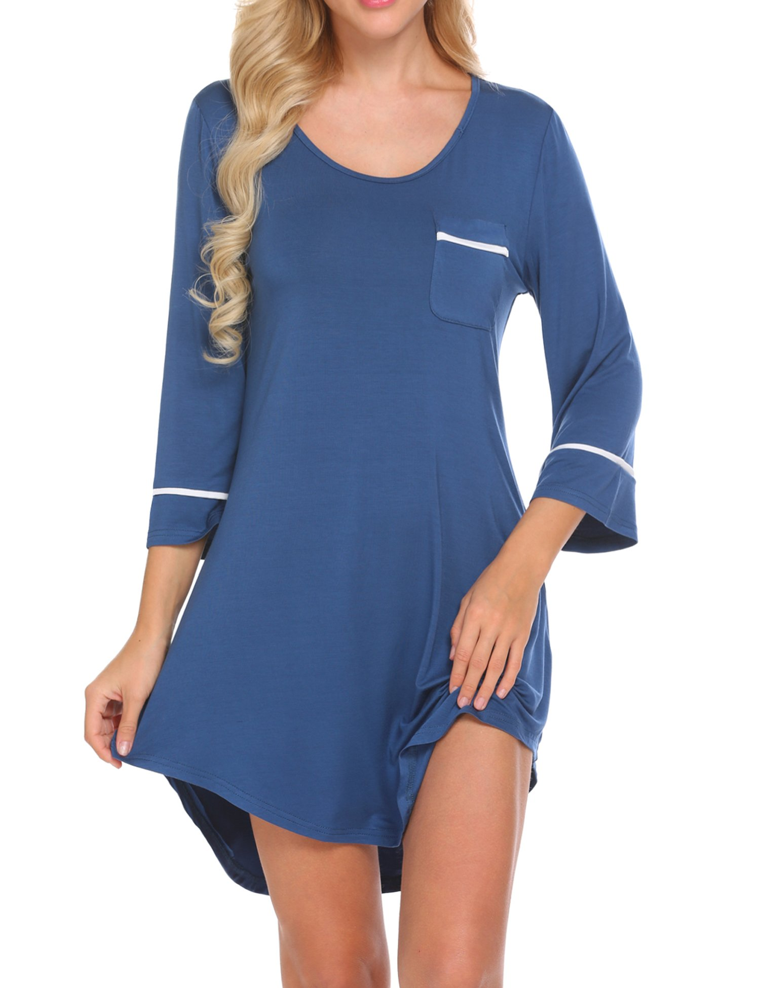 Ekouaer Women's Sleepshirt 3/4 Sleeves Nightgown Sexy Nightshirts Boyfriend Sleepwear S-XXL