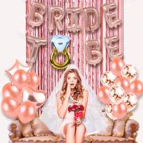 Bachelorette Party Decorations Bridal Shower Kit - Diamond and Bride to Be Balloon,Metallic Foil Curtains ,Bride to Be Sash,Bridal Wedding Veil with Comb,Rose Gold Bride Ballons Party Supplies