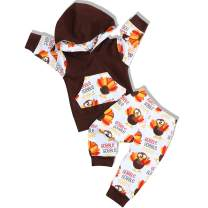 Infant Baby Boy Clothes Thanksgiving Outfits Cartoon Turkey Print Hooded Top Sweatshirt+Pants Set