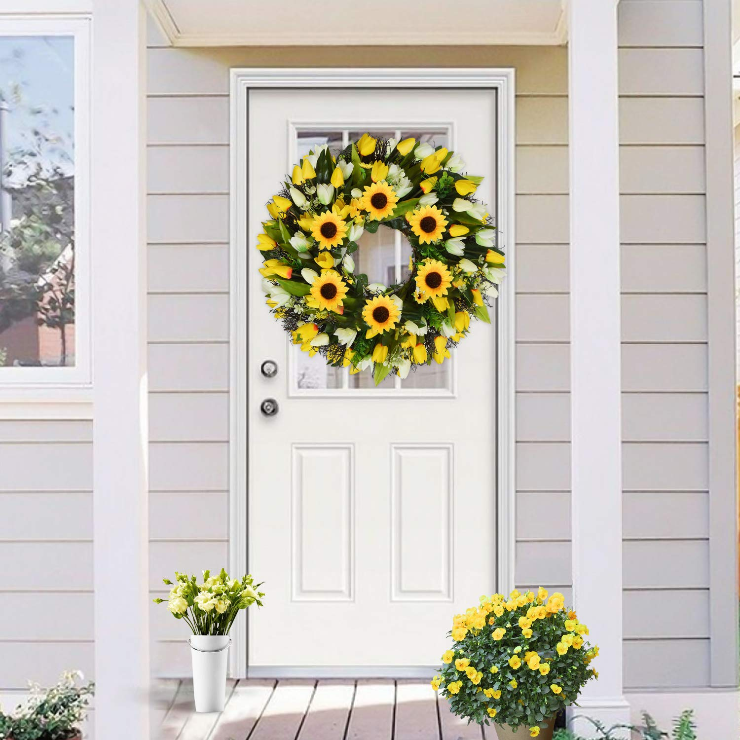 Wanna Cul 22 Spring Tulip Wreath For Front Door With Sunflower For Mother S Day Yellow And White Summer Floral Door Wreath With Green Leaves For Wedding Wall Home Decorations