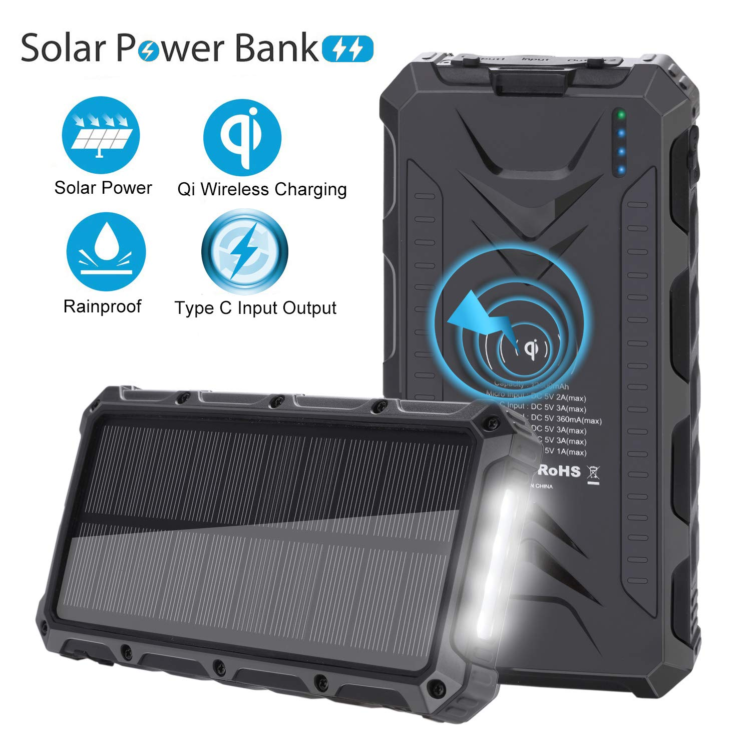 Solar Charger SendowTek Wireless Portable Charger 12000mAh Solar Power Bank Backup Battery with Type C High-Speed 5V/3A 3 Output Ports 4 LED Light Carabiner Rainproof for Cellphone and Outdoor Camping