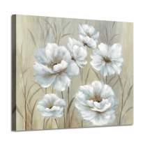 """White Floral Painting Wall Art: Yellowish Peony Artwork Flowers Canvas Picture Painting for Bedroom (24"""" x 18"""" x 1 Panel)"""