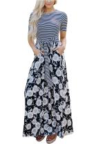 JOXJOZ Women's Casual Maxi Dress with Sleeves Striped Floral Long Party Dresses with Pockets