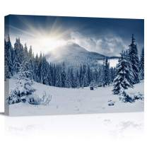 """Canvas Wall Art - Winter Mountain Snow Covered Trees Pictures - Modern Wall Decor Gallery Canvas Wraps Giclee Print Stretched and Framed Ready to Hang - 12"""" x 16"""""""