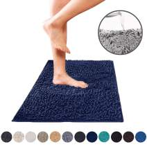 DEARTOWN Non-Slip Shaggy Bathroom Rug (Navy,27.5x47 Inches),Soft Microfibers Chenille Bath Mat with Water Absorbent, Machine Washable