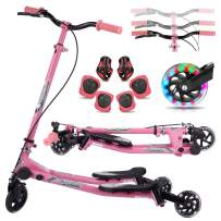 Y Flicker Scooter for Kids Ages 5-8, Fliker Swing Wiggle Scooter 3-Level Adjustable Height Foldable Kick Speeder Drifter for Boys and Girls Gifts
