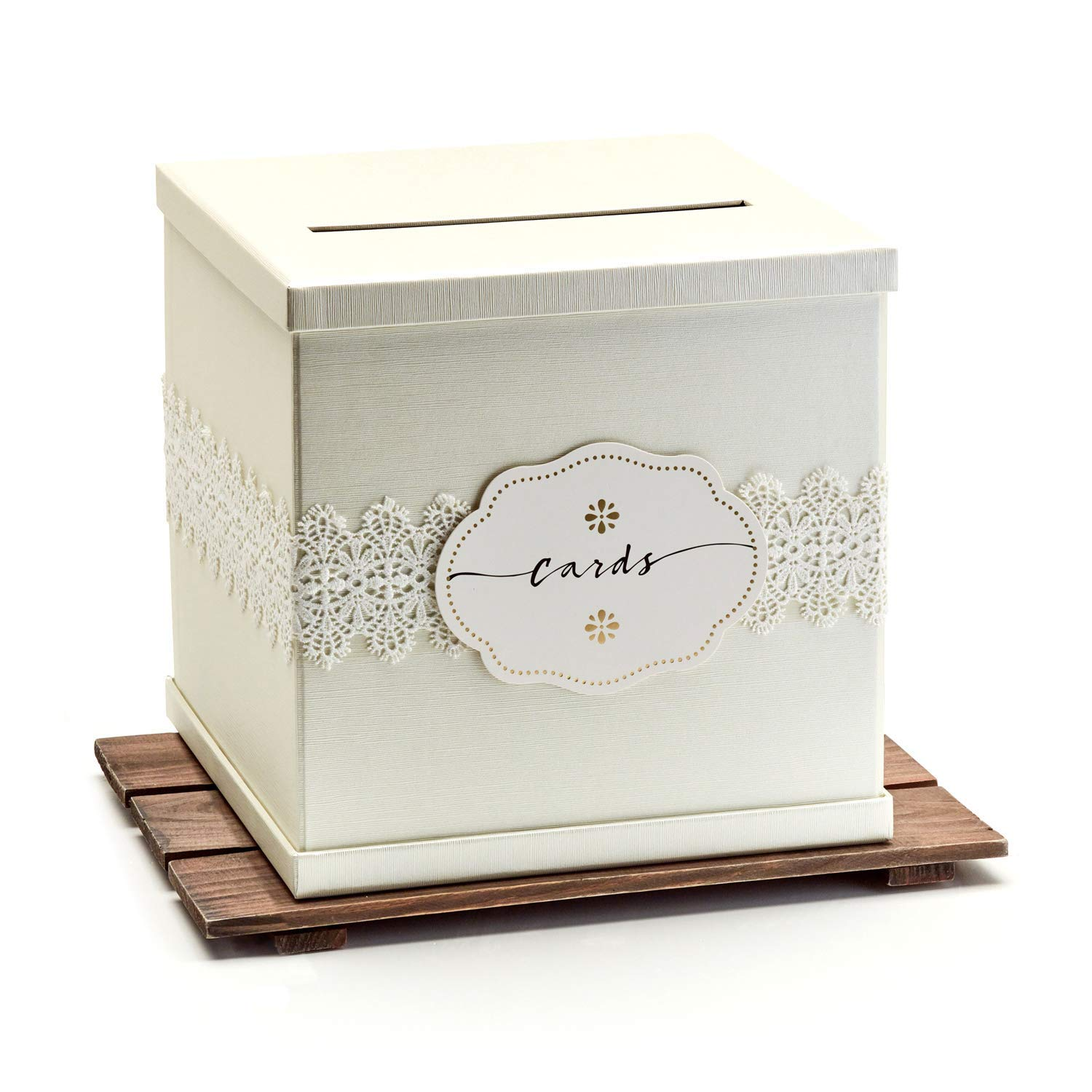 """Hayley Cherie - Ivory Gift Card Box with White Lace and Cards Label - Ivory Textured Finish - Large Size 10"""" x 10"""" - Perfect for Weddings, Baby Showers, Birthdays, Graduation"""