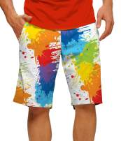 "Loudmouth Golf-StretchTech Poly-John Daly Fun Colorful Paint Drop Cloth StretchTech Men's Short-Knee Length, 11"" Inseam"