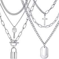 17 MILE Silver Layered Chain Necklace Set for Men and Women Funky Punk Egirl Eboy Chains Lock and Key Pendant Stainless Steel Paperclip Necklace Jewelry for Gifts