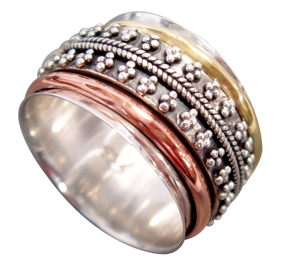 Style# USA37 Tri-Color ARTICULATED Beads Sterling Silver Meditation Spinning Ring with 1 Silver 1 Brass and 1 Copper Spinners