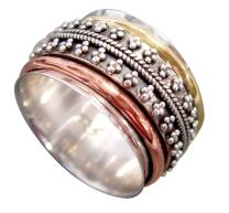Tri-Color Articulated Beads Sterling Silver Meditation Spinner Ring with 1 Silver 1 Brass and 1 Copper Spinners (Style USA37)