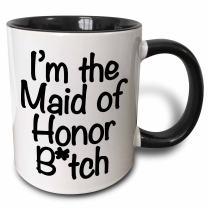 3dRose I'M The Maid Of Honor Batch Black Two Tone Mug, 11 oz