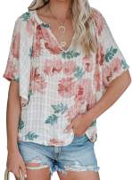 ZKESS Women Casual Floral Deep V Neck Summer Blouses 3/4 Short Sleeve Tie Knot Loose Shirts Tops
