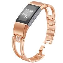 Compatible for Fitbit Charge 2 Bands, Premium Wristband Metal Bracelet Bands for Fitbit Charge 2 /Fitbit Charge 2 Bands,Watch Replacement Accessories Strap Bands for Fitbit Charge 2 Rose Gold, Silver