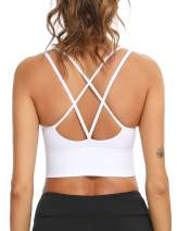 Sykooria 3 Pack Strappy Sports Bra for Women Sexy Crisscross for Yoga Running Athletic Gym Workout Fitness Tank Tops