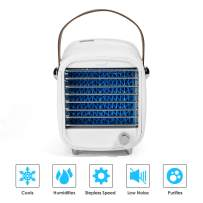 Portable Air Cooler,Mini Personal Air Conditioner Fan, Noiseless Evaporative Air Cooler and Humidifier,Desktop Cooling Fan with LED Light, Stepless Speed Desktop Cooling Fan for Home, Room, Office
