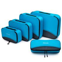 5pcs Packing Cubes for Travel Accessories Set, Luggage Organizer Bags with Large Medium Small Sizes and Mesh Panel, Sea Blue