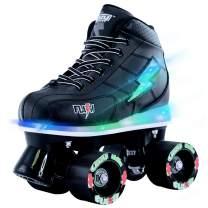 Crazy Skates Flash Roller Skates for Boys - Light Up Skates with Ultra Bright Lights and Flashing Lightning Bolt - Black Patines