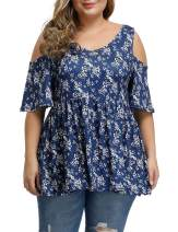 Allegrace Women's Plus Size Sexy V Neck Open Back Tops Floral Print Cold Shoulder Pleated Flowy T Shirts