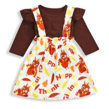 Thanksgiving Infant Baby Girl Clothes Ruffle Romper Top Suspender Turkey Dress Overalls Outfit Set with Headband