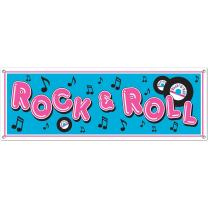 Rock & Roll Sign Banner Party Accessory (1 count) (1/Pkg)