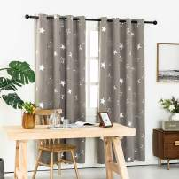 Anjee Kids Blackout Curtains with Starry Sky Design 45 Inches Long, Grommet Thermal Insulated Room Darkening Drapes for Beedroom, Grey