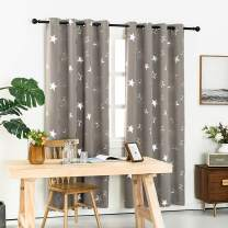 Anjee 63 Inches Blackout Curtains for Boys Room with Shiny Star, Thermal Insulated Grommet Top Drapes 52 x 63 Inches, Grey …