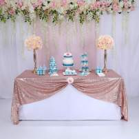 """90""""x90"""" Sparkly Rose Gold Square Sequins Wedding Tablecloth, Sparkly Overlays Table Cloth for Wedding, Event"""