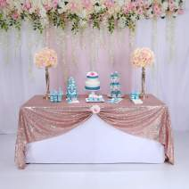 """60""""x72"""" Sparkly Rose Gold Square Sequins Wedding Tablecloth, Sparkly Overlays Table Cloth for Wedding, Event"""
