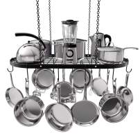 VDOMUS Pot Rack Ceiling Mount Cookware Rack Hanging Hanger Organizer with Hooks (33 x 17 Inch)