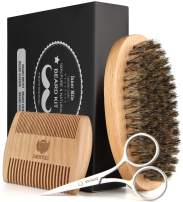 Isner Mile Beard Brush, Comb, Scissors & Shaping Tool Kit for Men Beard Grooming Trimming & Styling, Made of Boar Bristle, Durable Wood, Stainless Steel, Perfect Gifts for Dad Father Him Man Boyfriend