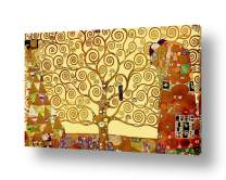 """Alonline Art - Tree Of Life Yellow by Gustav Klimt   framed stretched canvas (Synthetic) on a ready to hang frame - gallery wrapped   25""""x16"""" - 64x41cm   Wall art home decor for bedroom painting"""