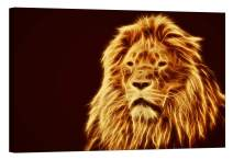 Wall Art for Living Room - Glow in The Dark Canvas Painting - Stretched and Framed Giclee Print - Lion Africa Fur Flames Fire - Wall Decorations for Bedroom - 36 x 24 inch