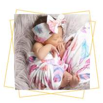 QTECLOR Newborn Receiving Blanket Headband Set - Unisex Soft Baby Swaddle Girl Boy Gifts (Feather)