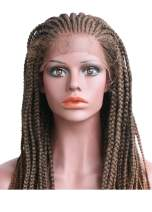 L'cattie Long Handed Braided Wigs Lace Front Wig for Black Women Heat Resistant Fiber Synthetic Hair 180 Density 30 inch (One size, Yellow brown)