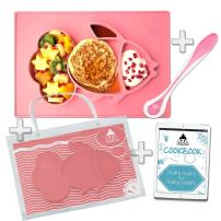 "Cool Panda Premium Silicone Baby Placemat Set for Kids & Toddlers, Reusable Travel Bag, Non Slip Toddler Plates, Large Size: 15""x10""x1"", Pink Silicone Bowl Mat with Spoon and Healthy Recipes E-Book"