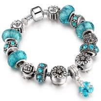 Hottime Charm Bracelet for Women Morenitor Sterling Plated Snake Chain Handmade Carved Bead Bracelet Charms Bracelets for Women Lake Blue Rose Flower