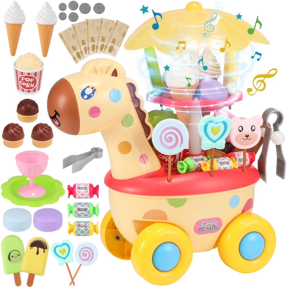Geyiie Ice Cream Cart for Kids, 37 Piece Pretend Play Food Dessert Candy Trolley Set with Music and Lighting Toys for 4 5 6 7 Years Old Girls, Boys, Toddlers