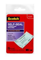 Scotch LS851G Self-Sealing Laminating Pouches, 9.5 mil, 2 7/16 x 3 7/8, Business Card Size (Pack of 25)
