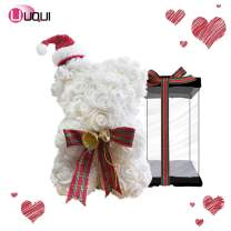 U UQUI Rose Bear 10 Inches Tall - Over 200+ Flowers on Every Rose Bear -Limited 2020 Edition- Clear Gift Box Included! - White