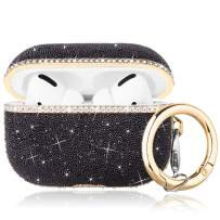 Caka Case for AirPods Pro Glitter Case Cover Bling Diamond Crystal for Girls Women Luxury Shiny Sparkle Rhinestone Protective with Keychain TPU Case for AirPods Pro (Black)